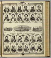 (Portraits of) Citizens of Dallas County: J. Perkins, T.J. Caldwell, J.S. DeMotte, Sam'l. Pangburn, G.G. Pierce, S.G. Mark, S.A. Callvert, J.W. Russell, Wm. Hemphill, J.L. Grace, Sol. Rimer, O.P. Williams. Citizens of Guthrie and Adair counties: Chas. Stuart, W.B. Conger, M. Ryan, Chas W. Hill, A.P. Littleton, J.R. Bates, Geo. Gray, Thomas Harris, James E. Roper, S.B. Moody, Paul Denning, S.D. Nichols, State of Iowa. Chas. Shober & Co. props. Chicago Litho. Co. (Published by the Andreas Atlas Co., Lakeside Building, Chicago, Ills. Engraved & printed by Chas. Shober & Co., Props. of Chicago Lithographing Co.)