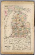 Map of the State of Michigan showing counties, townships, rail roads, stations, etc. (Drawn, compiled, and edited by H.F. Walling, C.E. ... Published by R.M. & S.T. Tackabury, Detroit, Mich. Entered ... 1873, by H.F. Walling ... Washington. The Claremont Manufacturing Company, Claremont, N.H., Book Manufacturers)