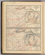 Climatology of Michigan by Alex. Winchell. Isothermals spring, autumn. Isothermals year average mean minimum, extreme minimum. The Calvert Lith. Co., Detroit. (Drawn, compiled, and edited by H.F. Walling, C.E. ... Published by R.M. & S.T. Tackabury, Detroit, Mich. Entered ... 1873, by H.F. Walling ... Washington. The Claremont Manufacturing Company, Claremont, N.H., Book Manufacturers)