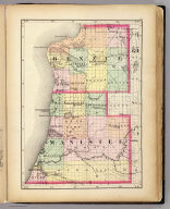 (Map of Benzie and Manistee counties, Michigan. Drawn, compiled, and edited by H.F. Walling, C.E. ... Published by R.M. & S.T. Tackabury, Detroit, Mich. Entered ... 1873, by H.F. Walling ... Washington. The Claremont Manufacturing Company, Claremont, N.H., Book Manufacturers)