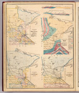 Geological map of Minnesota by N.H. Winchell, State Geologist. (with) Colored to show senatorial districts, apportionment of 1871. (with) Colored to show judicial districts. (with) Colored to show congressional districts. (Published by A.T. Andreas, Lakeside Building, Chicago, 1874. Chas. Shober & Co. Proprietors of Chicago Lith. Co.)