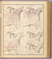 Population, United States Census, 1870: Density of population. Foreign population, Colored population, British American population, Swedish and Norwegian population. (Published by A.T. Andreas, Lakeside Building, Chicago, 1874. Chas. Shober & Co. Proprietors of Chicago Lith. Co.)