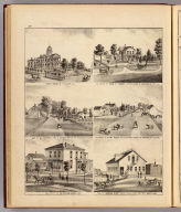 Court House of Stillwater, Minn. (with) Residence of John P. Furber ... (with) Res. of O.V. Cowell ... (with) Residence of Henry House ... (all) Cottage Grove Tp., Washington Co., Minn. (with) Residence of P.A. Bergsma ... (with) View of Houston & Co's. Sash, Door & Blind Factory ... (both) Anoka, Minn. (Published by A.T. Andreas, Lakeside Building, Chicago, 1874. Chas. Shober & Co. Proprietors of Chicago Lith. Co.)