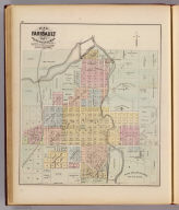 Map of Faribault, laid out in 1855 by Alex Faribault. F.B. Sibley, Porter Nuttings, and John W. North, proprietors ... Rice County, Minn. (Published by A.T. Andreas, Lakeside Building, Chicago, 1874. Chas. Shober & Co. Proprietors of Chicago Lith. Co.)