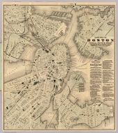 New map of Boston giving all points of interest ... Geo H. Walker & Co. Lith. 160 Tremont St. Boston. Copyright 1883 by Tilly Haynes (1884)