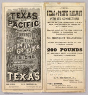(Covers to:) The Texas and Pacific Railway. The shortest line to the great cotton grain and stock regions of Texas ... Woodward, Tiernan & Hale, Printers, St. Louis.
