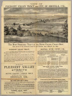 View of Pleasant Valley Tract and City of Oroville, Cal. Lith. Dakin Pub. Co., S.F., Cal. (folded title) The Pleasant Valley Tract in the Butte County citrus belt, one-half mile from Oroville, Cal. For sale by E. Tucker, Oroville, Cal. (1887)