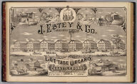 J.E. Estey & Co., manufacturers of cottage organs, Brattleboro, Vermont, America. Packard (del.). (Published by H.W. Burgett & Co. 36 Vesey Street, New-York. 1876. Entered ... 1876 by H.W. Burgett & Co. ... Washington D.C. Engraved & printed by J.B. Beers & Co. 36 Vesey St. N.Y.)
