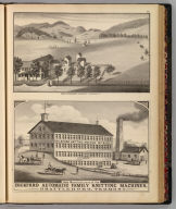 John Q. Stewart's residence, Clarendon, Vt. (with Bickford Knitting Machine Mf'g. Co.:) Sole manufacturers of the Bickford Automatic Family Knitting Machines, Brattleboro, Vermont. Packard (del.). (Published by H.W. Burgett & Co. 36 Vesey Street, New-York. 1876. Entered ... 1876 by H.W. Burgett & Co. ... Washington D.C. Engraved & printed by J.B. Beers & Co. 36 Vesey St. N.Y.)