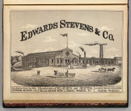 Edwards Stevens & Co., manufacturers of mill gearing and shafting ... Winooski, Vt. Packard (del.). (Published by H.W. Burgett & Co. 36 Vesey Street, New-York. 1876. Entered ... 1876 by H.W. Burgett & Co. ... Washington D.C. Engraved & printed by J.B. Beers & Co. 36 Vesey St. N.Y.)