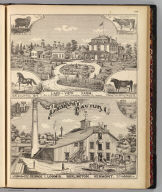 Lake-View Farm, res. L.S. Drew, South Burlington, Chittenden Co., Vermont. Packard (del.). (with) Basket Factory, George I. Loomis, Burlington, Vermont. Packard del. (Published by H.W. Burgett & Co. 36 Vesey Street, New-York. 1876. Entered ... 1876 by H.W. Burgett & Co. ... Washington D.C. Engraved & printed by J.B. Beers & Co. 36 Vesey St. N.Y.)