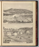 View of Middlebury, looking east from rear residence of Saml. James, Esq. (with) Stock farm and res. of Saml. James, Weybridge, Vt. (both by) Packard (del.). (Published by H.W. Burgett & Co. 36 Vesey Street, New-York. 1876. Entered ... 1876 by H.W. Burgett & Co. ... Washington D.C. Engraved & printed by J.B. Beers & Co. 36 Vesey St. N.Y.)