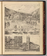 Lake Dunmore House, Salisbury, Addison Co., Vt. Barry (and) Packard (dels.). (with) Res. of Z.H. Canfield Esq ... B(arry) and P(ackard, dels.). (with) St. James' Church ... (both) Arlington, Vt. (Published by H.W. Burgett & Co. 36 Vesey Street, New-York. 1876. Entered ... 1876 by H.W. Burgett & Co. ... Washington D.C. Engraved & printed by J.B. Beers & Co. 36 Vesey St. N.Y.)