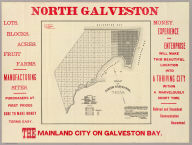 Map of North Galveston, Texas. North Galveston. The mainland city on Galveston Bay. Money, experience and enterprise will make this beautiful location into a thriving city within a marvelously short time ... D.R. Beatty, E.H. Porter, managers, Galveston, Texas. (1891)