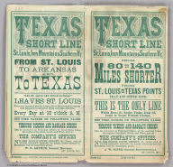 (Covers to:) Texas Short Line. St. Louis, Iron Mountain & Southern Ry. from St. Louis to Arkansas and to Texas ... The company's offices, No. 513 North Fifth Street, St. Louis and at Plum Street Depot ... A.W. Soper, General Superintendent, St. Louis, Mo. Woodward, Tiernan & Hale, Printers, St. Louis.