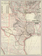 Texas and Mexico showing Houston and Texas Central system of railways. Rand, McNally & Co, Engr's, Chicago. (inset) Map of United States and Mexico reduced scale, showing the Houston and Texas Central Railway and connections. (1885)