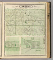 Map of Lagrange County. (with) La Grange ... (with) Lima ... (Published by Baskin, Forster & Co. Lakeside Building Chicago, 1876. Engraved & Printed by Chas. Shober & Co. Props. of Chicago Lithographing Co.)