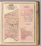Map of Porter County. (with) Corporate town of Chesterton ... (with) Village of Hebron ... (Published by Baskin, Forster & Co. Lakeside Building Chicago, 1876. Engraved & Printed by Chas. Shober & Co. Props. of Chicago Lithographing Co.)