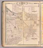 Map of Lake County. (with) Lowell ... (with) Hobart ... (with) Crown Point ... (Published by Baskin, Forster & Co. Lakeside Building Chicago, 1876. Engraved & Printed by Chas. Shober & Co. Props. of Chicago Lithographing Co.)