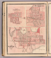 Plan of Warsaw, Kosciusko Co., Ind. (with) Plan of Pierceton, Kosciusko Co. (with) Plan of Plymouth, Marshall Co. (Published by Baskin, Forster & Co. Lakeside Building Chicago, 1876. Engraved & Printed by Chas. Shober & Co. Props. of Chicago Lithographing Co.)