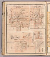 Kendallville, Noble Co. Ligonier, Noble Co. Map of Waterloo, De Kalb Co. Ind. Garrett, De Kalb Co., Ind. (Published by Baskin, Forster & Co. Lakeside Building Chicago, 1876. Engraved & Printed by Chas. Shober & Co. Props. of Chicago Lithographing Co.)