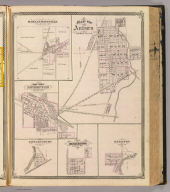 Map of Auburn, De Kalb Co., Ind. (with) Harlan-Maysville ... (with) Corp. Town Monroeville ... (with) Edwardsburg ... (with) Huntertown ... (with) Hamilton ... (Published by Baskin, Forster & Co. Lakeside Building Chicago, 1876. Engraved & Printed by Chas. Shober & Co. Props. of Chicago Lithographing Co.)