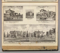 Residence of Henry Baker, near Ft. Wayne, Indiana. Residence of Mrs. Sol. D. Bayless ... James Lillie ... J.H. Jones ... Fort Wayne, Ind. ... Geo. W. Nusbaum ... Springfield, Allen Co., Indiana. (Published by Baskin, Forster & Co. Lakeside Building Chicago, 1876. Engraved & Printed by Chas. Shober & Co. Props. of Chicago Lithographing Co.)
