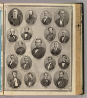 (Portraits of) Saml. Hanna, Peter Heller, B.S. Woodworth, Henry Burgess, D. Bayless, Asa Fairfield, Thomas Tigar, Reub. Williams, H.R. Burnham, Eliza Hanna, Laura Suttenfield, Christian Parker, Simon Edsall, Jacob Fry, F.S. Aveline, Thomas Washburn, J.H. Jones, Herman H. Nierman (and) Henry Baker, Ft. Wayne (and) Columbia City. (Published by Baskin, Forster & Co. Lakeside Building Chicago, 1876. Engraved & Printed by Chas. Shober & Co. Props. of Chicago Lithographing Co.)