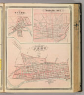 City of Peru, Miami Co., Ind. (with) Lagro, Wabash Co. (with) Wabash City, Wabash Co. (Published by Baskin, Forster & Co. Lakeside Building Chicago, 1876. Engraved & Printed by Chas. Shober & Co. Props. of Chicago Lithographing Co.)