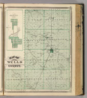 Map of Wells County. (with) Ossian, Wells Co. (Published by Baskin, Forster & Co. Lakeside Building Chicago, 1876. Engraved & Printed by Chas. Shober & Co. Props. of Chicago Lithographing Co.)