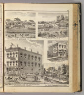 """Remmel Bros. west-end druggists ..., Ft. Wayne, Ind. (with) Residence of Jacob Sappington, St. Joseph Tp., Allen Co., Indiana. (with) Residence of Isaac Hall, """"Hall's Corners,"""" Springfield Tp., Allen Co., Ind. (with) J.A. Provines' Drug Store, Spencerville, De Kalb Co., Ind. (with) Res. of Dr. F.K. Cosgrove, Maysville, Allen Co., Ind. (Published by Baskin, Forster & Co. Lakeside Building Chicago, 1876. Engraved & Printed by Chas. Shober & Co. Props. of Chicago Lithographing Co.)"""
