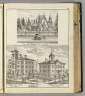 Residence of Dr. J.H. Helm, Peru, Indiana (with) 4th (and 3rd) Ward Public School, Peru, Indiana.