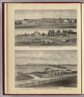 "Archibald Miller's stock farm, Falls Tp. ... (with) ""Palmer Ranch,"" owned by A.R. Palmer, one half mile from Bazar Station ... (both) Chase Co., Kansas. (L.H. Everts & Co., publishers, Philadelphia, 1887)"
