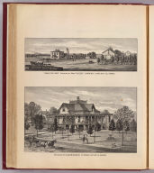"""Grand View Farm"" residence of Wm. Finley Lowrey, Lyons, Rice Co., Kansas. (with) Residence of D.M. Bronson, El Dorado, Butler Co., Kansas. (L.H. Everts & Co., publishers, Philadelphia, 1887)"