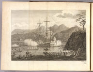 (Captain Samuel Wallis' ship in battle with inhabitants of King George Third's or Otaheite Island, June 24, 1767). E. Rooker sculp. No. 21. [London: printed for W. Strahan, and T. Cadell in the Strand, MDCCLXXIII).