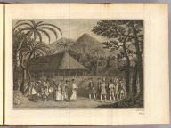 (Captain Samuel Wallis's party with Tahitians in front of long house]. J. Hall sculp. No. 22. [London: printed for W. Strahan, and T. Cadell in the Strand, MDCCLXXIII).