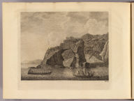 (A fortified town or village called a Hippah, built on a perforated rock at Tolaga, New Zealand by John James Barralet ). No. 18. (London: printed for W. Strahan, and T. Cadell in the Strand, MDCCLXXIII).