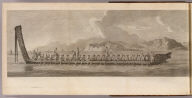 (A war canoe of New Zealand, with a view of Gable End Foreland). No. 16. (London: printed for W. Strahan, and T. Cadell in the Strand, MDCCLXXIII).