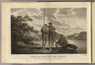 Family in Dusky Bay, New Zeland (sic). Drawn from nature by W. Hodges. Engrav'd by Lerperniere (sic). No. LXIII. Published Feby. 1st., 1777 by Wm. Strahan in New Street, Shoe Lane, and Thos. Cadell in the Strand, London.