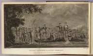 The landing at Mallicolo, one of the New Hebrides. Painted by W. Hodges. Engrav'd by J. Basire. No. LX. Published Feby. 1st, 1777 by Wm. Strahan, New Street, Shoe Lane & Thos. Cadell in the Strand, London.