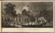 The landing at Tanna, one of the New Hebrides. Painted by W. Hodges. Engraved by J.K. Sherwin. No. LIX. Published Feby. 1st, 1777 by Wm. Strahan, New Street, Shoe Lane & Thos. Cadell, in the Strand, London.