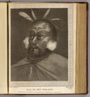 Man of New Zealand. Drawn from nature by W. Hodges. Engrav'd by Michel. No. LV. Publish'd Feby. 1st, 1777 by Wm. Strahan, New Street, Shoe Lane and Thos. Cadel(l) in the Strand, London.