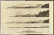 Three views of Arched Point on Kerguelen's Land. View when Arched Point bears So. 2 1/2 miles distant. View of Kerguelen's Land 4 1/2 miles distant. View of Kerguelen's Land when Prince of Wales's Foreland bears W.S.W. (By William Bligh. London, G. Nicol and T. Cadell, 1785)