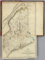 Map of the principal rivers, mountains and highland ranges of the State of Maine, by Moses Greenleaf. 1828. Engraved by Wm. Chapin, N. York for Greenleaf's survey of Maine. Published by Shirley & Hyde, Portland, 1829.