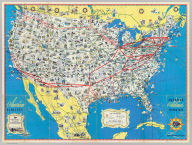 American Airlines system map. Route of the flagships ... in relation to the air transport system of the United States ... Prepared for American Airlines, Inc. Copyright, General Drafting Co., Inc., 21 West Street, New York, N.Y. ... (with 12 strip maps on verso.) (1945?)