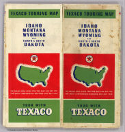 (Covers to) Texaco road map Idaho, Montana, Wyoming. Copyright by Rand McNally & Company, Chicago, Illinois. Made in U.S.A. ... Texaco Touring Service, 210 Fourteenth Street, Denver, Colo. (seal) Texaco T Reg. T.M. Made by the Texas Company. Gasoline. Motor oil. (1937)