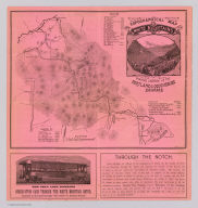 Topographical map of the White Mountains showing location of the Portland & Ogdensburg Railroad. (1879)