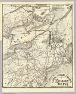Central Vermont Railroad excursion routes. Engraved in relief by Photo-Electrotype Co., 171 Devonshire St., Boston. (inset) Railway & steam ship lines connecting with and in the provinces of Nova Scotia, New Brunswick & Prince Edward Id. (1879)