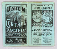 (Covers to) Union and Central Pacific Railroad Line. The Great American Over-land Route. Rand, McNally & Co., Printers, Engravers and Electrotypers, 77 and 79 Madison Street, Chicago.