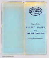 (Covers to) Map of the United States showing the New York Central Lines and connections ... Copyright, Rand McNally & Company. (with 2 inset maps). (1929)